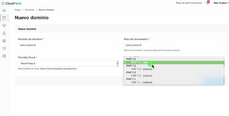 Añadiendo dominio en CloudPanel.io