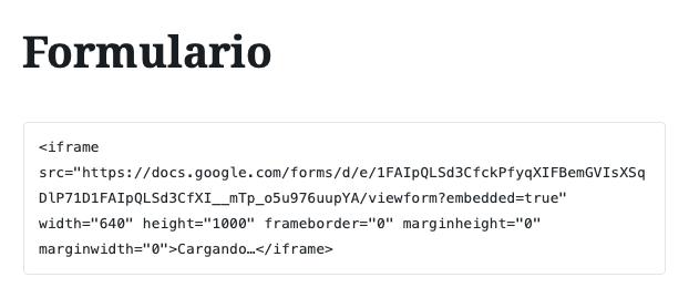 Ejemplo de los Formularios de Google en WordPress